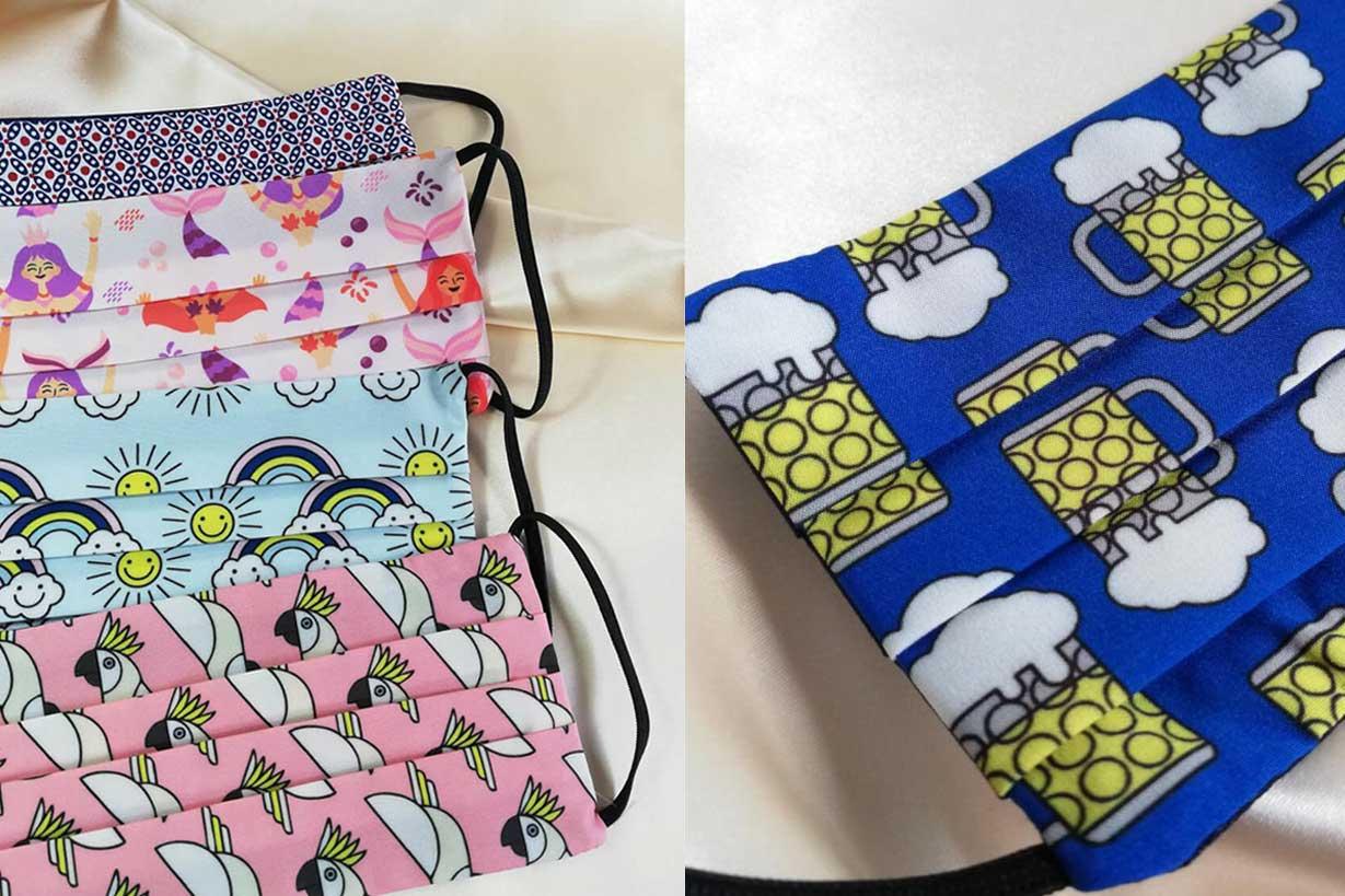 Mascarillas textiles con diseños alegres